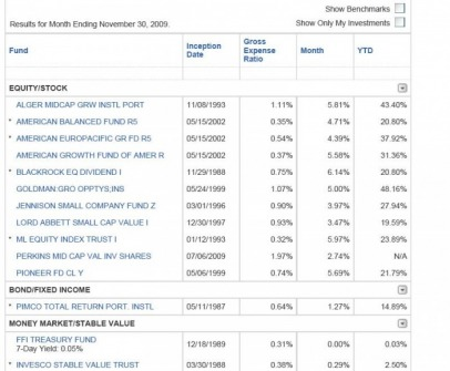 401k stock investment options
